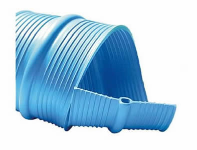 A piece of blue PVC waterstop with center bulb in sky blue color