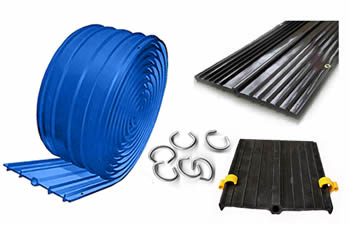 Four types of methods for easy fixing PVC waterstop including punched flanges, brass eyelets, hog rings and clamps.