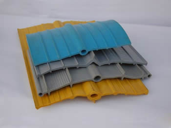 Four types of PVC waterstop in blue, gray and yellow