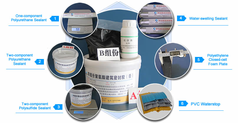 One-component and two-component polyurethane sealant, two-component polysulfide sealant, water-swelling sealant and PVC waterstop.